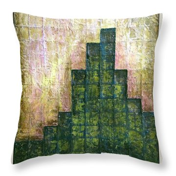 City In Green Throw Pillow