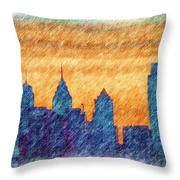 City In Pencil Throw Pillow by Thomas  MacPherson Jr