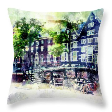city life in watercolor style - Old Amsterdam  Throw Pillow