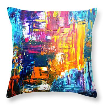 Throw Pillow featuring the painting City Life by Piety Dsilva