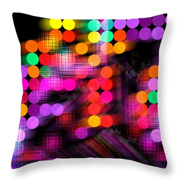 Throw Pillow featuring the digital art City Lights by Fran Riley
