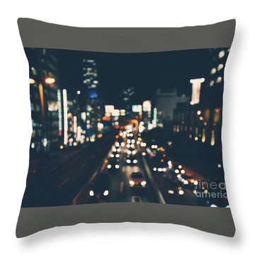 Throw Pillow featuring the photograph City Lights by MGL Meiklejohn Graphics Licensing