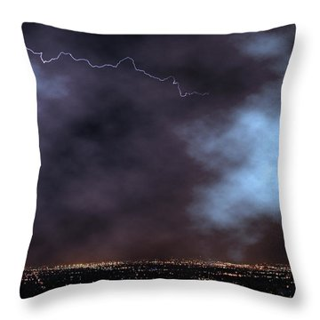 Throw Pillow featuring the photograph City Lights Night Strike by James BO Insogna