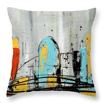 Throw Pillow featuring the painting City Limits by Carmen Guedez