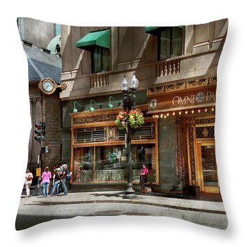 Throw Pillow featuring the photograph City - Ma Boston - Meet Me At The Omni Parker Clock by Mike Savad