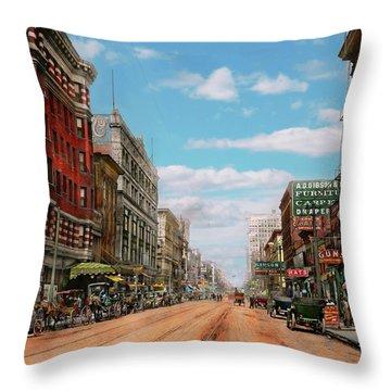 City - Memphis Tn - Main Street Mall 1909 Throw Pillow by Mike Savad
