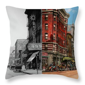 Throw Pillow featuring the photograph City - Memphis Tn - Main Street Mall 1909 - Side By Side by Mike Savad