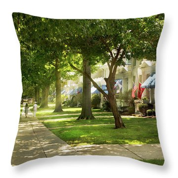 Throw Pillow featuring the photograph City - Naval Academy - A Walk Down Captains Row by Mike Savad