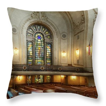 Throw Pillow featuring the photograph City - Naval Academy - God Is My Leader by Mike Savad