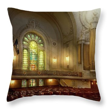 Throw Pillow featuring the photograph City - Naval Academy - The Chapel by Mike Savad