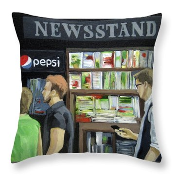 Throw Pillow featuring the painting City Newsstand - People On The Street Painting by Linda Apple