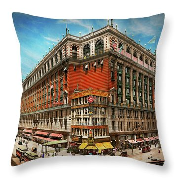 Throw Pillow featuring the photograph City - Ny New York - The Nation's Largest Dept Store 1908 by Mike Savad