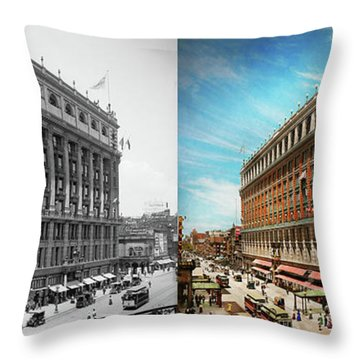 Throw Pillow featuring the photograph City - Ny New York - The Nation's Largest Dept Store 1908 - Side by Mike Savad