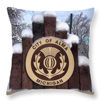 City Of Alma Michigan Snow Throw Pillow