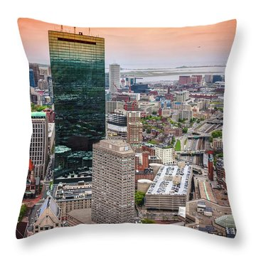 City Of Boston Reflected  Throw Pillow