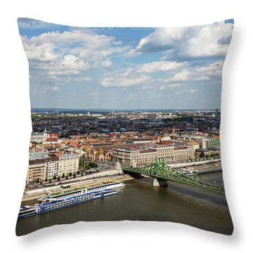 City Of Budapest Cityscape Aerial View Throw Pillow