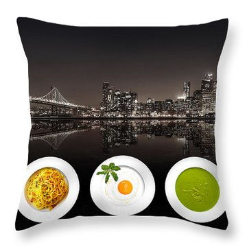 Throw Pillow featuring the digital art City Of Cultural Cuisines by ISAW Company