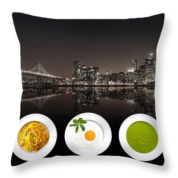 City Of Cultural Cuisines Throw Pillow