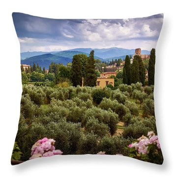 Tuscan Landscape With Roses And Mountains In Florence, Italy Throw Pillow