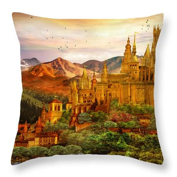 City Of Gold Throw Pillow by Mary Hood