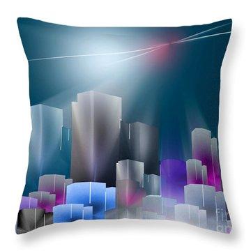 City Of Light Throw Pillow by John Krakora