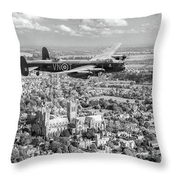 Throw Pillow featuring the photograph City Of Lincoln Vn-t Over The City Of Lincoln Bw Version by Gary Eason