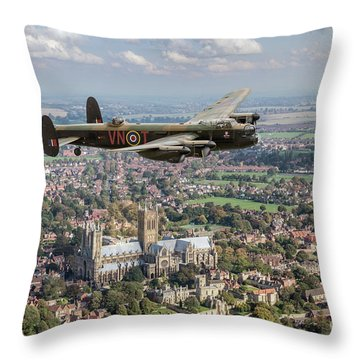 Throw Pillow featuring the photograph City Of Lincoln Vn-t Over The City Of Lincoln by Gary Eason