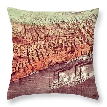 City Of New Orleans Throw Pillow by Currier and Ives