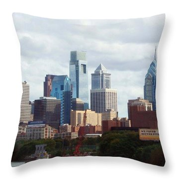 City Of Philadelphia Throw Pillow by Linda Sannuti