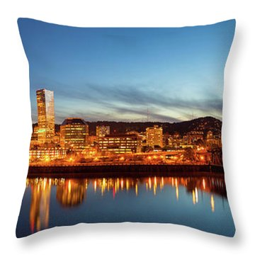City Of Portland Skyline Blue Hour Panorama Throw Pillow by David Gn