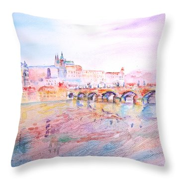 Throw Pillow featuring the painting City Of Prague by Elizabeth Lock