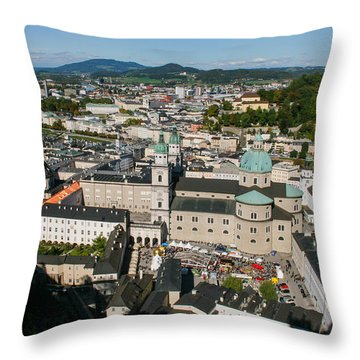 City Of Salzburg Throw Pillow by Silvia Bruno