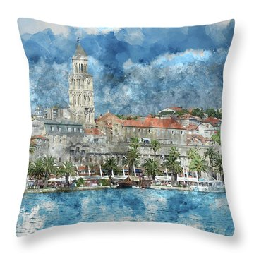 City Of Split In Croatia With Birds Flying In The Sky Throw Pillow