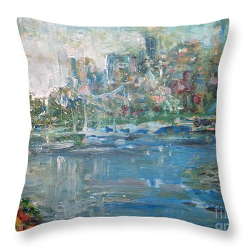 City On The Bay Throw Pillow by John Fish