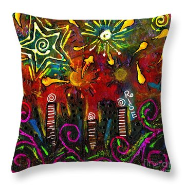 City On The Rocks Throw Pillow by Angela L Walker