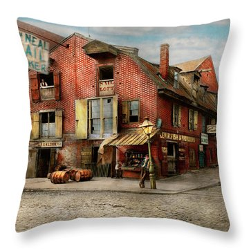 Throw Pillow featuring the photograph City - Pa - Fish And Provisions 1898 by Mike Savad