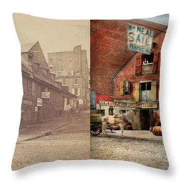 Throw Pillow featuring the photograph City - Pa - Fish And Provisions 1898 - Side By Side by Mike Savad