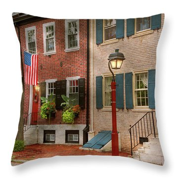 Throw Pillow featuring the photograph City - Pa Philadelphia - American Townhouse by Mike Savad