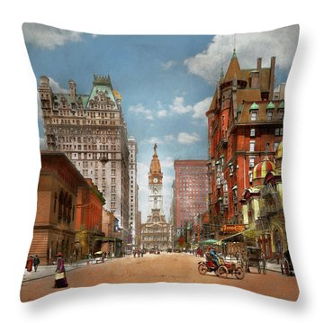 Throw Pillow featuring the photograph City - Pa Philadelphia - Broad Street 1905 by Mike Savad