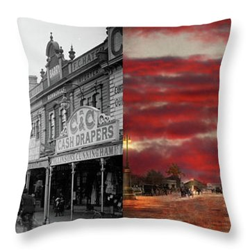 Throw Pillow featuring the photograph City - Palmerston North Nz - The Shopping District 1908 - Side By Side by Mike Savad
