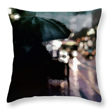 Throw Pillow featuring the mixed media City Rain by Susan Maxwell Schmidt