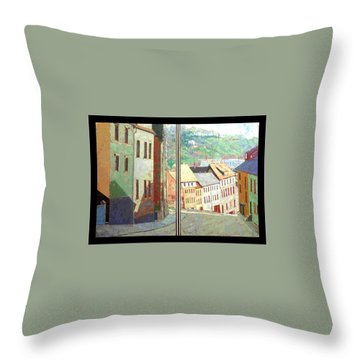 Throw Pillow featuring the painting City Scape-dyptich by Walter Casaravilla