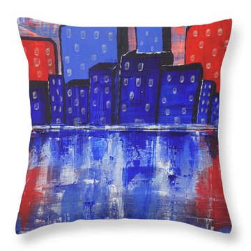 City Scape_abstract Throw Pillow