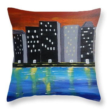 City Scape_night Life Throw Pillow