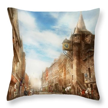 Throw Pillow featuring the photograph City - Scotland - Tolbooth Operator 1865 by Mike Savad