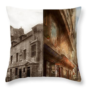 Throw Pillow featuring the photograph City - Scotland - Tolbooth Operator 1865 - Side By Side by Mike Savad