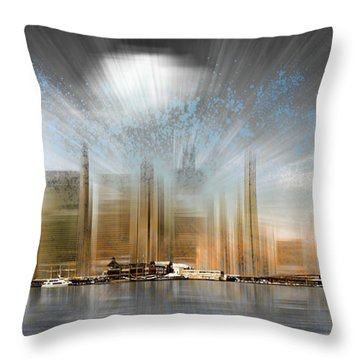 City Shapes Manhattan Skyline - Panoramic Throw Pillow