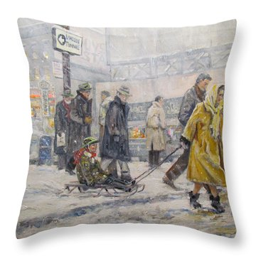 Throw Pillow featuring the painting City Snow Ride by Donna Tucker