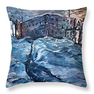 City Snow Storm Throw Pillow