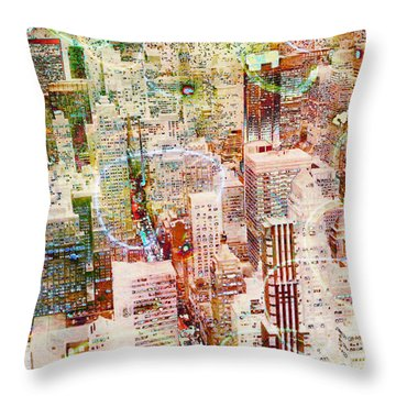 City Snowstorm Throw Pillow by Barbara Berney
